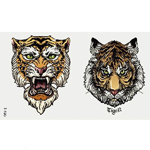 (Transer Temporary Tattoos, Large Waterproof Fake Tattoo Stickers for Women Men, Animals and Butterfly, Easy to Apply and Long Lasting (Tiger)