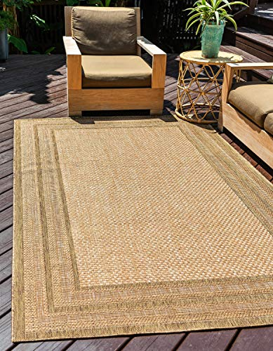 Unique Loom Outdoor Border Collection Solid Casual Transitional Indoor and Outdoor Flatweave Light Brown  Area Rug (3' 3 x 5' 0)