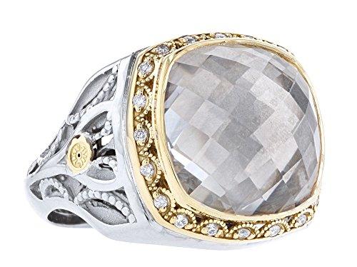 Tacori SR104Y11 Yellow Gold and Sterling Silver Clear Quartz Ring, 6.5 (Frame Quartz Ring)