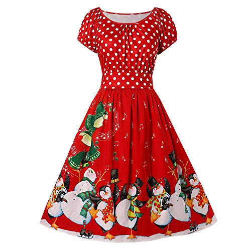 iLUGU Youth Knee-Length Dress for Women Short Sleeve Boatneck Christmas Penguin Dot Print Plus Size Party ()