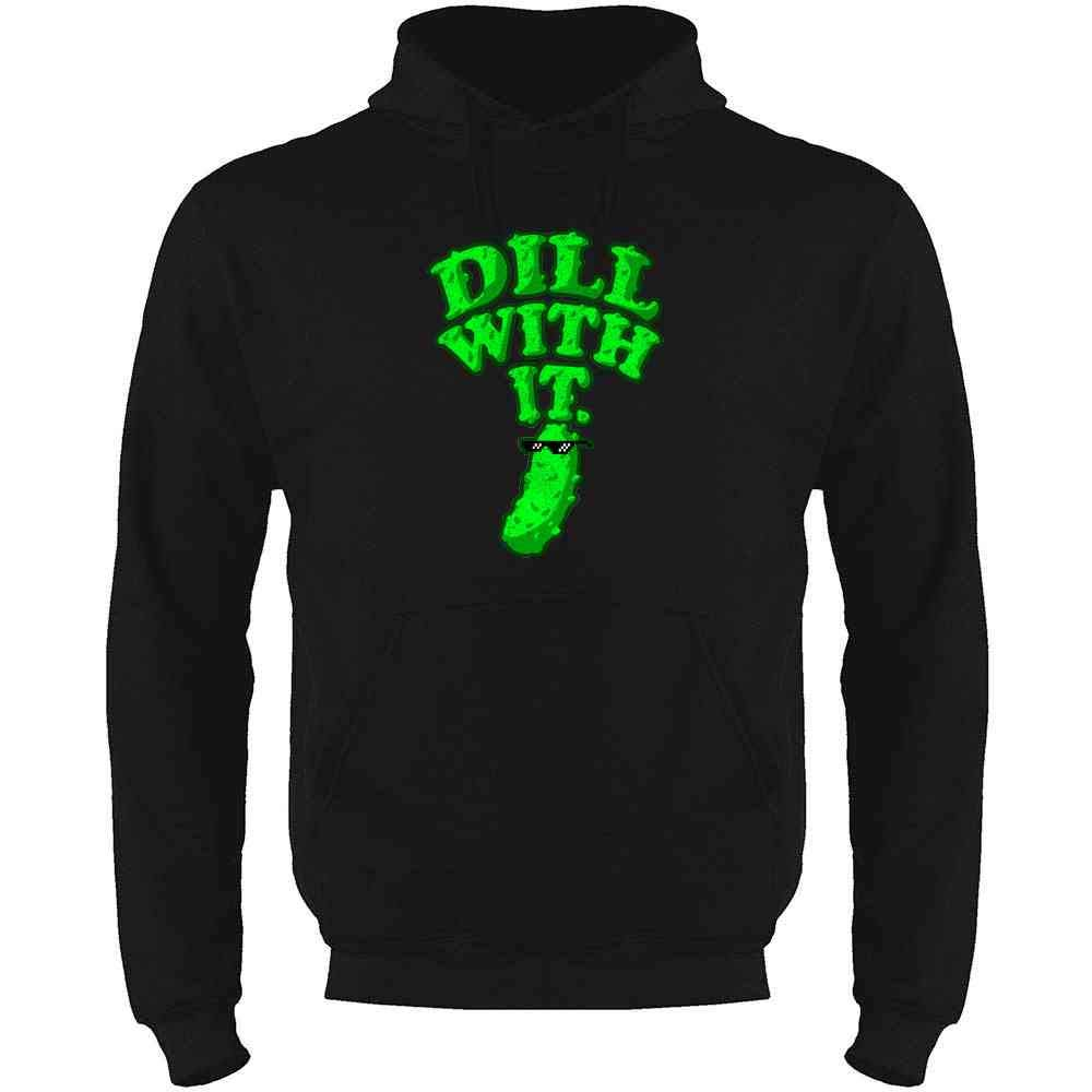 Pop Threads Dill with It Pickle Funny Mens Fleece Hoodie Sweatshirt
