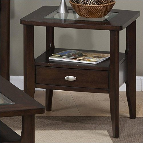 Jofran Montego Merlot Square End Table with Small Drawer For Sale