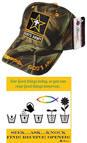 Learn More About God's Army Camo Cap Christian Bumper Sticker, Camouflage Hat w/ Cross
