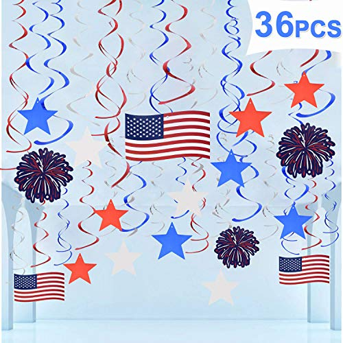 36 PCS Fourth of July Patriotic Hanging Swirl Decorations 4th of July American Flag Red White Blue Stars Party Supplies -