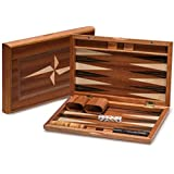 Yellow Mountain Imports Portable Backgammon Game Set with Wood Inlay, 11 Inches