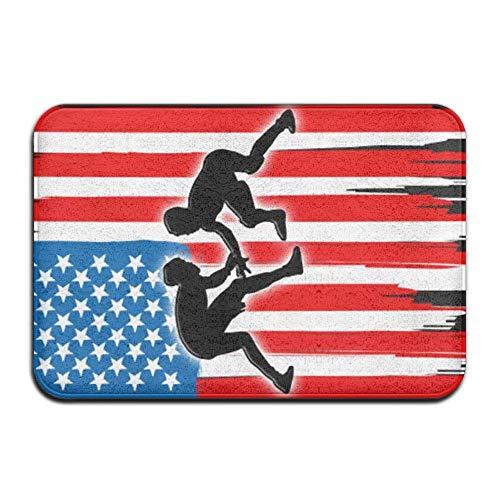 TOGEFRIEND Doormat Cover Rug American Flag Wrestling Absorbent Non Skid Outdoor Indoor Front Entrance Rug Floor Mats Bath Mat (Best Wrestling Entrance Music)
