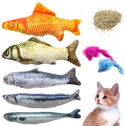 Youngever 7 Cat Toys Assortment with 5 Refillable Catnip Fish Cat Toys and 2 Catnip Fur Mouse Cat Toys, Extra Catnip for Refill, for Cat, Puppy, Kitty, Kitten, Ferret, Rabbit 2