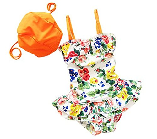 Babay little Girl One-Pieces Flowers Tankini Swimsuits Swimwear+ Hat set L