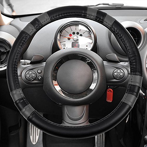 - cciyu Steering Wheel Cover Universal 15 Inch PVC Leather Black/Gray Car Steering Wheel Cover