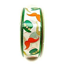 """Jo-ann's Holiday Inspirations St.Patrick's Day Ribbon,bowler Hat,mustaches, 7/8""""x9ft."""