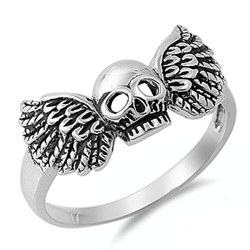 Luxo Jewelry Unisex 925 Sterling Silver Skull Winged Band Ring Size 5-12 (Ring Winged Skull)