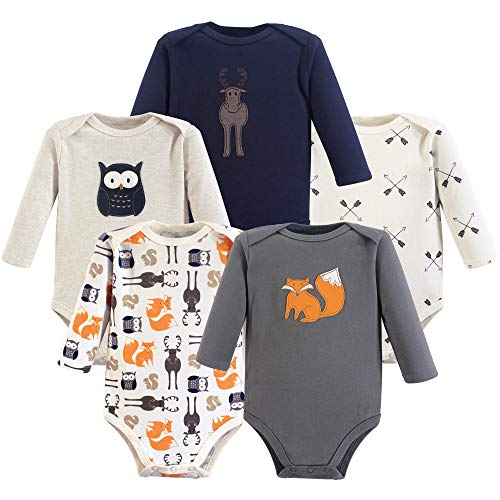 Hudson Baby Baby Long Sleeve Bodysuits, Forest 5Pk, 6-9 Months (9M)