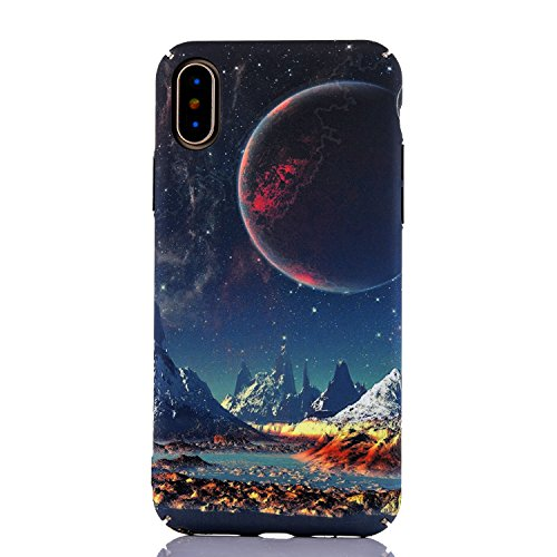 iPhone X Case, iPhone 10 Case, Amesica Noctilucent Lucky Starry Planet Series Full Body Protection Hard PC Cover for Apple iPhone X (5.8 inch) - 2017 (Color - 1)