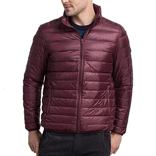 Boys Warm Walking Collar Wine Stand Laixing Winter Outwear Zipped Mens Lightweight Jacket Red Down 85tqwAxBt
