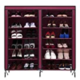 Portable Shoe Rack Shelf Storage Shoes Closet Organizer Cabinet with Fabric Cover - Two-row 6-storey 12-lattice 4-pocket (wine red)