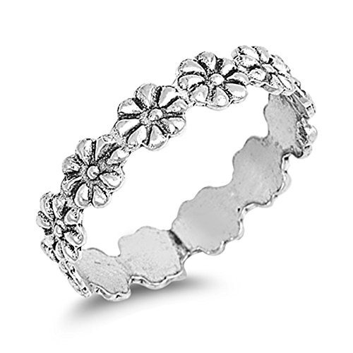 Prime Jewelry Collection Sterling Silver Women's Eternity Plumeria Flower Ring (Sizes 2-10) (Ring Size 8)