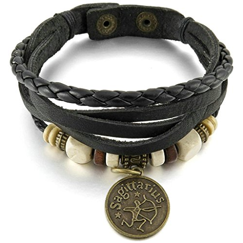 Men Womens Alloy Genuine Leather Bracelet Bangle Cuff Horoscope Zodiac Bead Charm Adjustable Black Gold