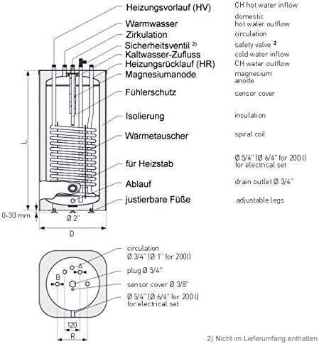 100 Liter Brauchwasserspeicher Wandmontage mit 1 W/ärmetauscher