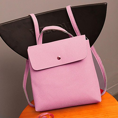 Inkach Travel Satchel School Bag Pink Fashion Rucksack Backpack Purse Womens Bags Leather rnOCq8rw