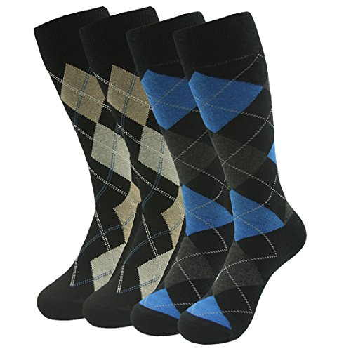 Mens Socks Gift set, SUTTOS Men's Cotton Blend Fun,Funky and Colorful Business Dress Socks Ultinate Charged Cotton Crew Socks Knit Comfortable Yellow Black Blue Jacquard Plaid Men's Christmas Socks Valentines ()