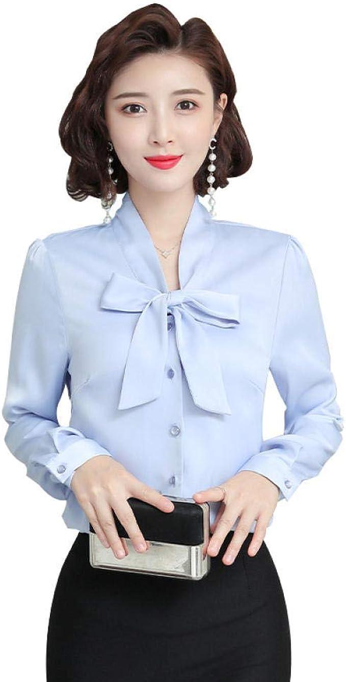 Blusas Y Camisas para Mujer Camisa Profesional, Satén Delgado, Camisa Blanca, Manga Larga Femenina.: Amazon.es: Ropa y accesorios