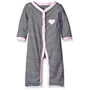 Hudson Baby Girls' Ruffle Union Suit, Pink/Black Stripes, 6-9 Months