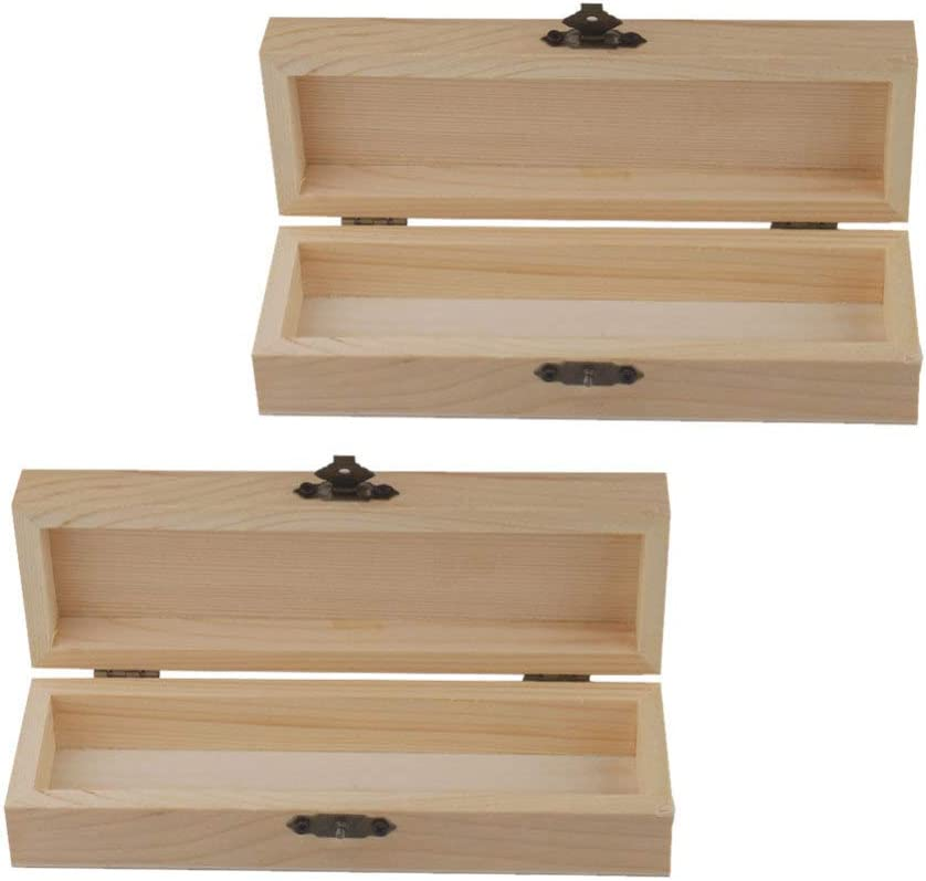HEALLILY Unfinished Wood Pencil Box Unpainted Rectangle DIY Artist Tool Brush Storage Case with Locking Clasp Jewelry Trinket Box 2 Pcs 185.33.5