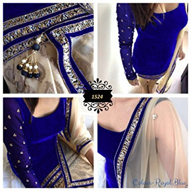 New Indian Designer Royal Blue Velvet Party Wear - Women Indian Suits