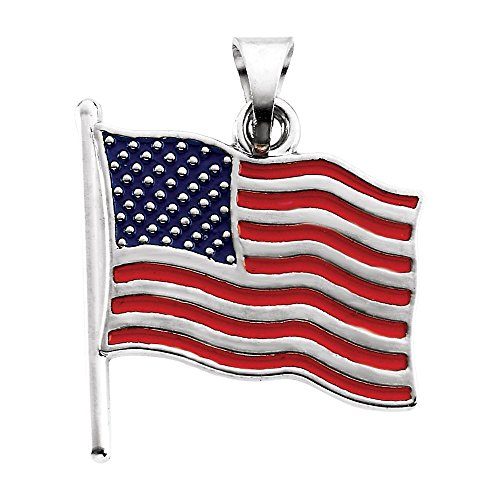 Bonyak Jewelry 14k Yellow Gold Enameled American Flag Pendant ()