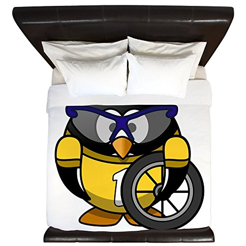 King Duvet Cover Little Round Penguin - Cyclist in Yellow Jersey