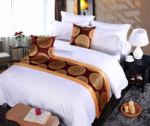 QCQZPL Bed Runner Hotel Bed Towel Ke Hotel Bed Towel, Yarn-Dyed Two-Side Bag, red Festive Bed end, 50x180, red Flower Gold