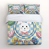 Ultra Soft 4 Pcs Bedding Sets Cotton Modern Luxury Bedding Happy Easter Theme Easter Bunny Easter Egg Printed Home Comforter Bedspread Duvet Cover Set King Size
