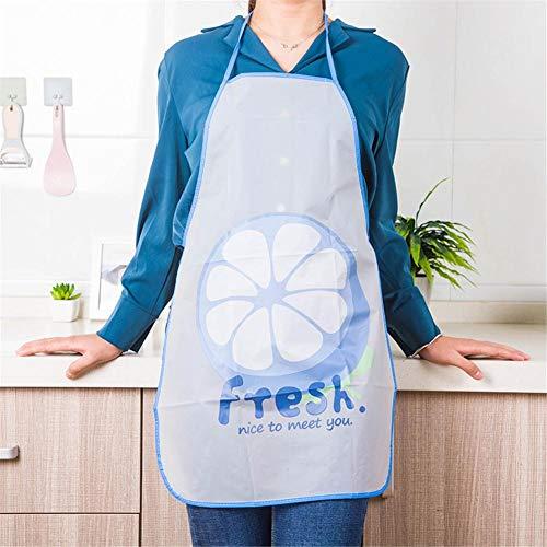 Damen Wasserdicht Küchenschürze, Niedliche Cartoon Schürze Ölbeweis Latzschürze Küchenschürze (Blau Grau Grün)