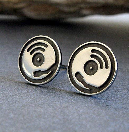 Record Player Album turntable stud earrings sterling silver DJ jewelry. Handmade in the USA.