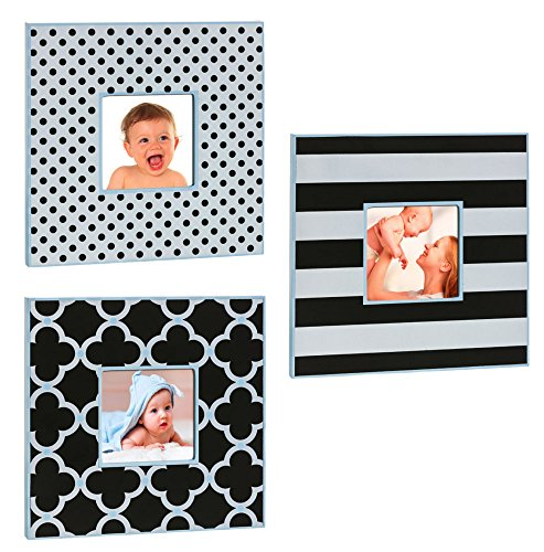 Stripes Dots and Clovers 3x5 Wood Picture Frame Set of 3 With Blue ()