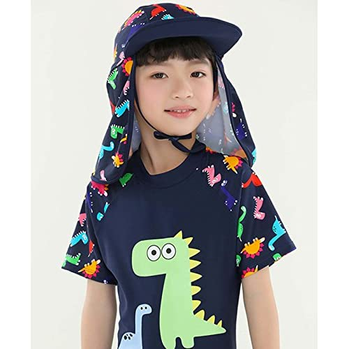 Happy Cherry Kid Flap Hat with Rope Cartoon UPF 50 Sun Protection Neck Cover Cap