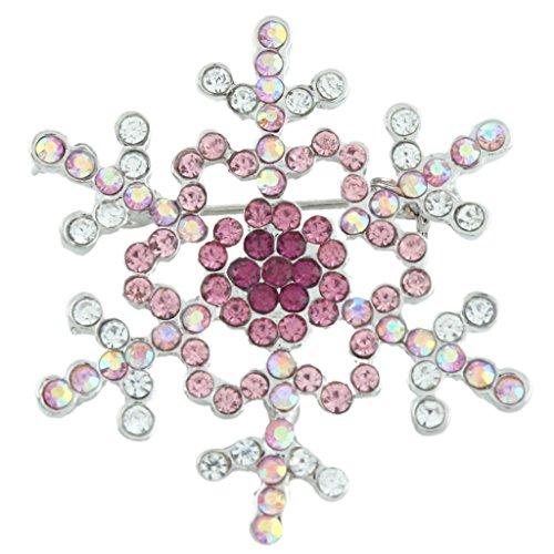 EVER FAITH Women's Austrian Crystal Elegant Snowflake Brooch Pin Pink Silver-Tone