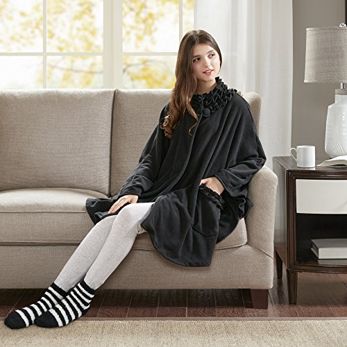 Comfort Spaces - Stylish Soft Microfleece Poncho Angel Wrap with Matched Sock Set - Travel Blanket - (One Size fits Most)- Black