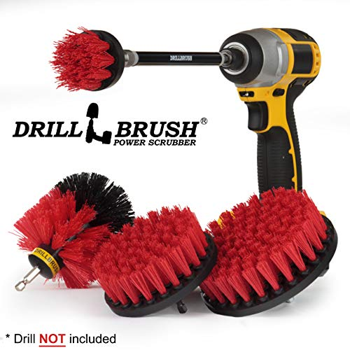 Drillbrush – Stiff Bristle Power Scrubber Cleaning Kit with Extension – Patio – Deck Brush – Spin Brush kit to Remove Algae, Mold, Mildew, and Moss from Garden Statues, Headstones, and Monuments