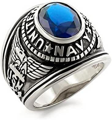 Military US Navy Ring Stainless Steel (Silver Color w/ Blue Stone) USN Military Rings Jewelry. Officers Military - U.S. Navy Seals Uniform Veteran Ring