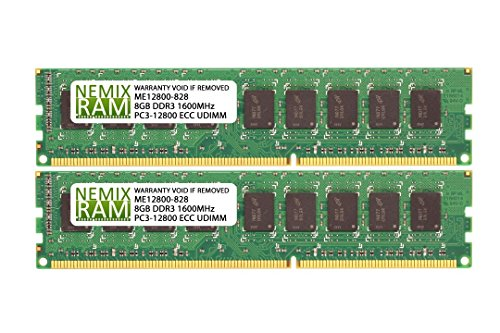 16GB (2x8GB) DDR3-1600MHz PC3-12800 ECC UDIMM 2Rx8 1.5V Unbuffered Memory for Server/Workstation -