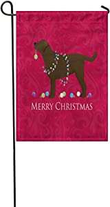 Suklly Garden Flag Chocolate Lab Merry Christmas Minimal European Natural Art 12x18 Inch Polyester Fabric Flags Home Decorative Sign Banner Suitable for Courtyard Outdoor Lawn