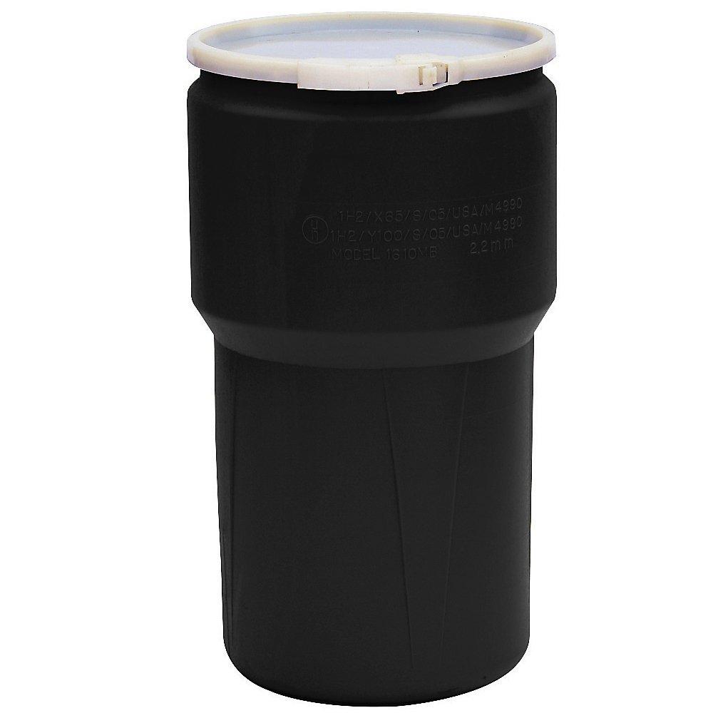 Eagle Plastic Drum - Tapered - Plastic Lever Lock - 14-Gallons - Black - Black