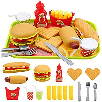 Elitao Play Fast Food Set - 18 Piece Pretend Play Burger Fries Hot Dog and Ketchup Food Toy - Best Gifts Food Playset for Boys, Girls, Kids