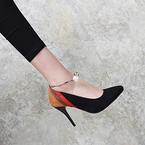Suede Punta Perla Color Tacón Aguja ZHZNVX Fall amp; y Mujer Rojo Red imitación de básica de Estrecha Zapatos Block Noche Spring Fiesta Negro de Tacones Bomba 7ZngZtOv