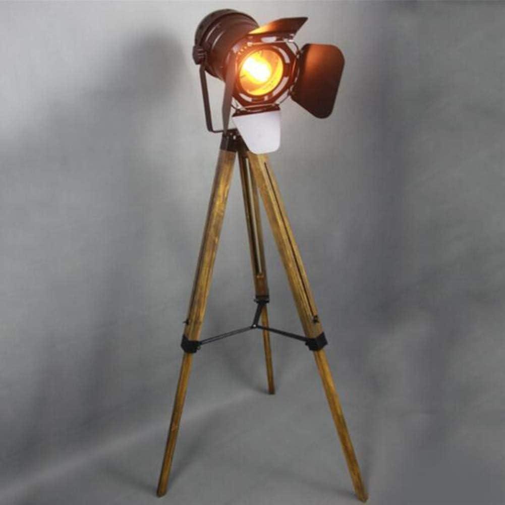 Lámpara de pie Retro industrial Steampunk Reflector Altura ajustable Pantalla giratoria E27 Cabeza única Hierro forjado negro Hacer la vieja Lámpara de suelo de trípode de madera con interruptor