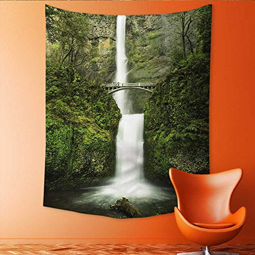 (Auraisehome Wall Tapestry Multnomah Waterfall Near Portland Oregon Taken with a Long Exposure Home Decorations for Living Room Bedroom 54W x 84L INCH)