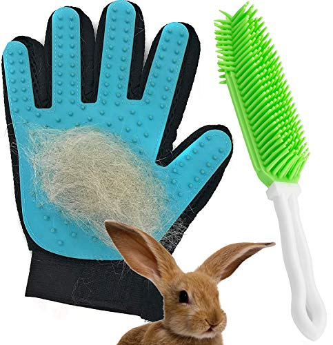Dasksha Rabbit Brush and Grooming Glove - 2PCS - Gentle on Bunnies and Guinea Pigs- Small Animal Hair Remover