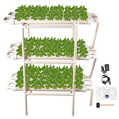 (Giraffe-X Hydroponic Grow Kit 108 Sites 12 Pipes 3 Layers Hydroponic Planting Equipment Ebb and Flow Deep Water Culture Balcony Garden System Vegetable Tool Grow)