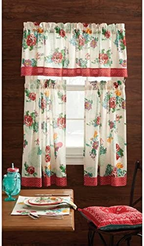 The Pioneer Woman Kitchen Curtain and Valance 3pc Set, 30 x 36, Country Garden